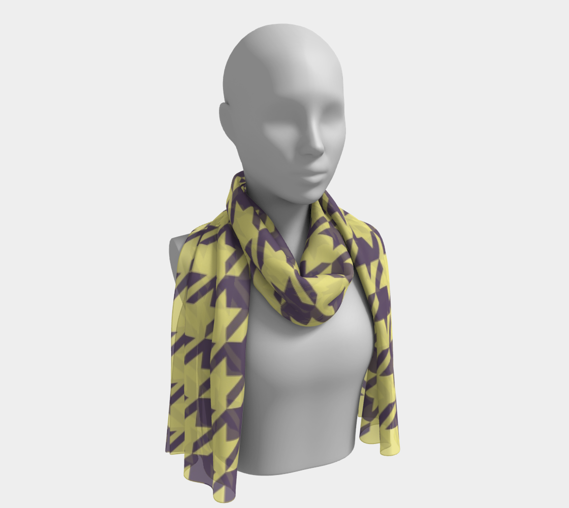 Lemon Yellow Houndstooth winter long scarf preview #1