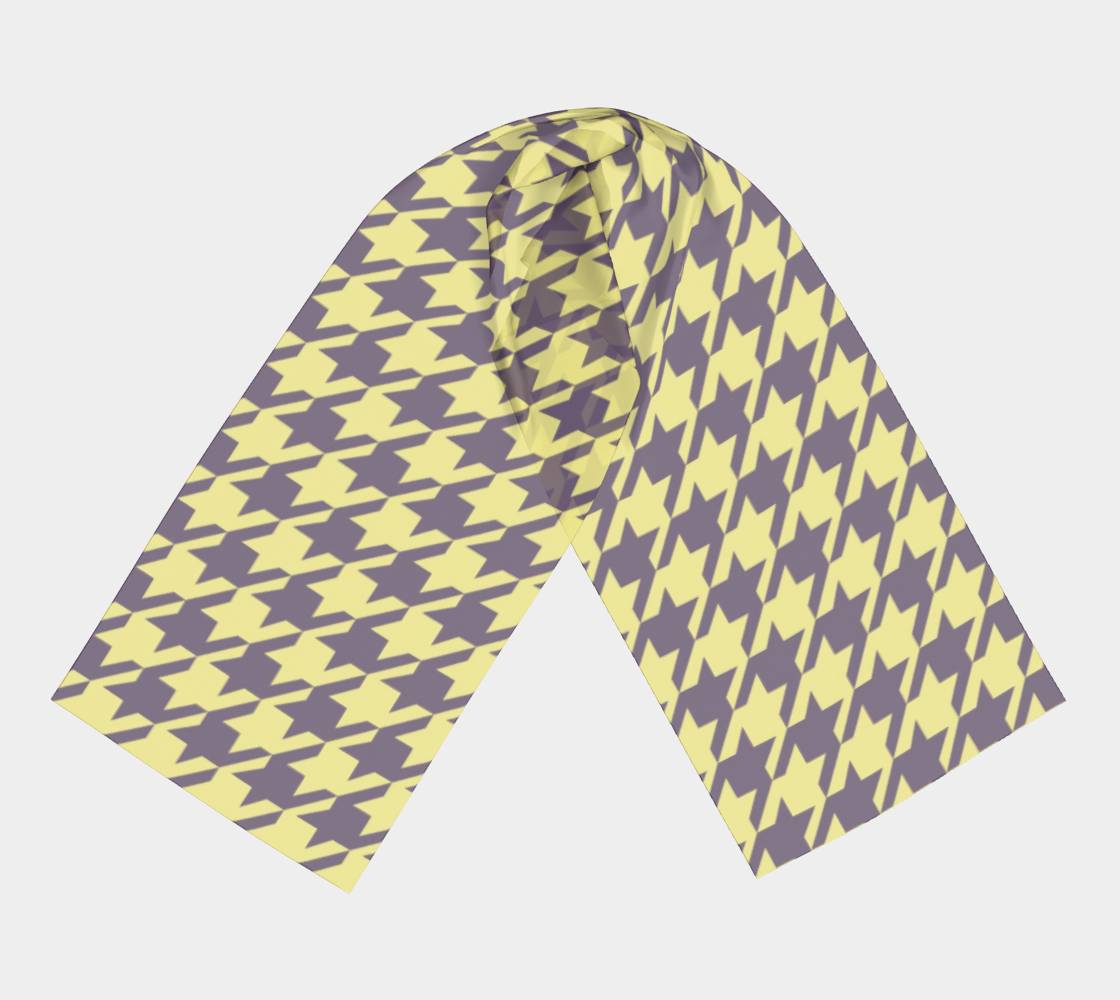 Lemon Yellow Houndstooth winter long scarf preview #3