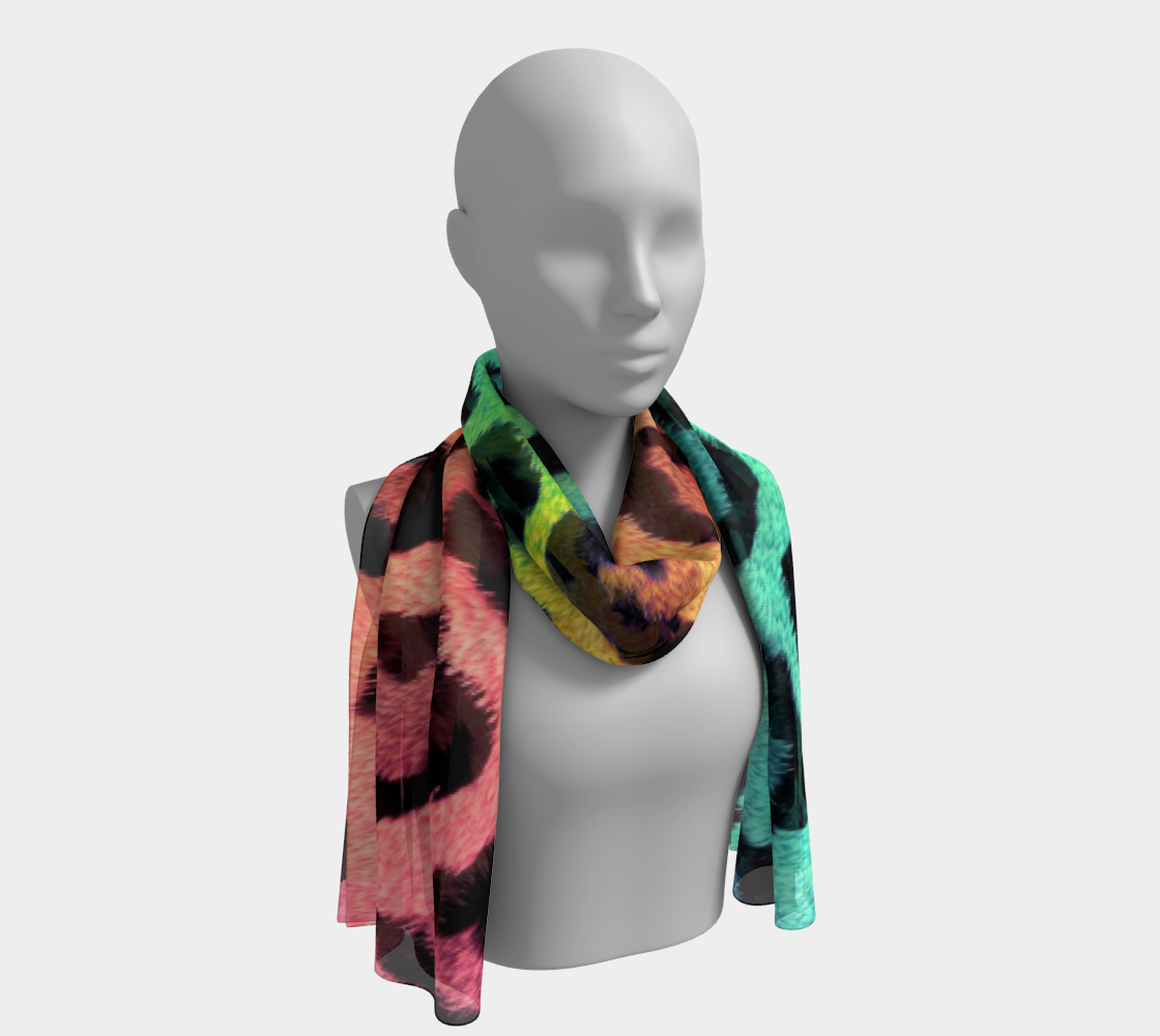 Rainbow Leopard LGBTQ+ winter long scarf preview #1