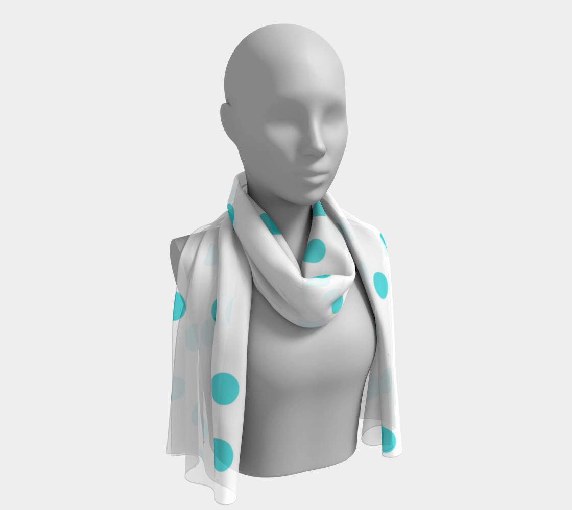Light Blue Polka Dots winter long scarf preview
