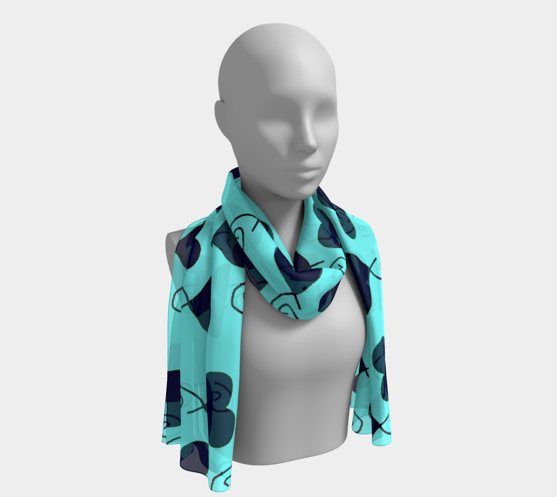 Light Blue with Navy Hearts winter long scarf preview