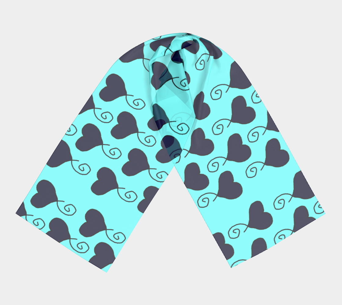Light Blue with Navy Hearts winter long scarf preview #3