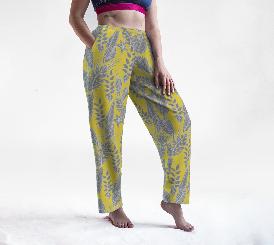 Yellow & Gray Floral Lounge Pants preview