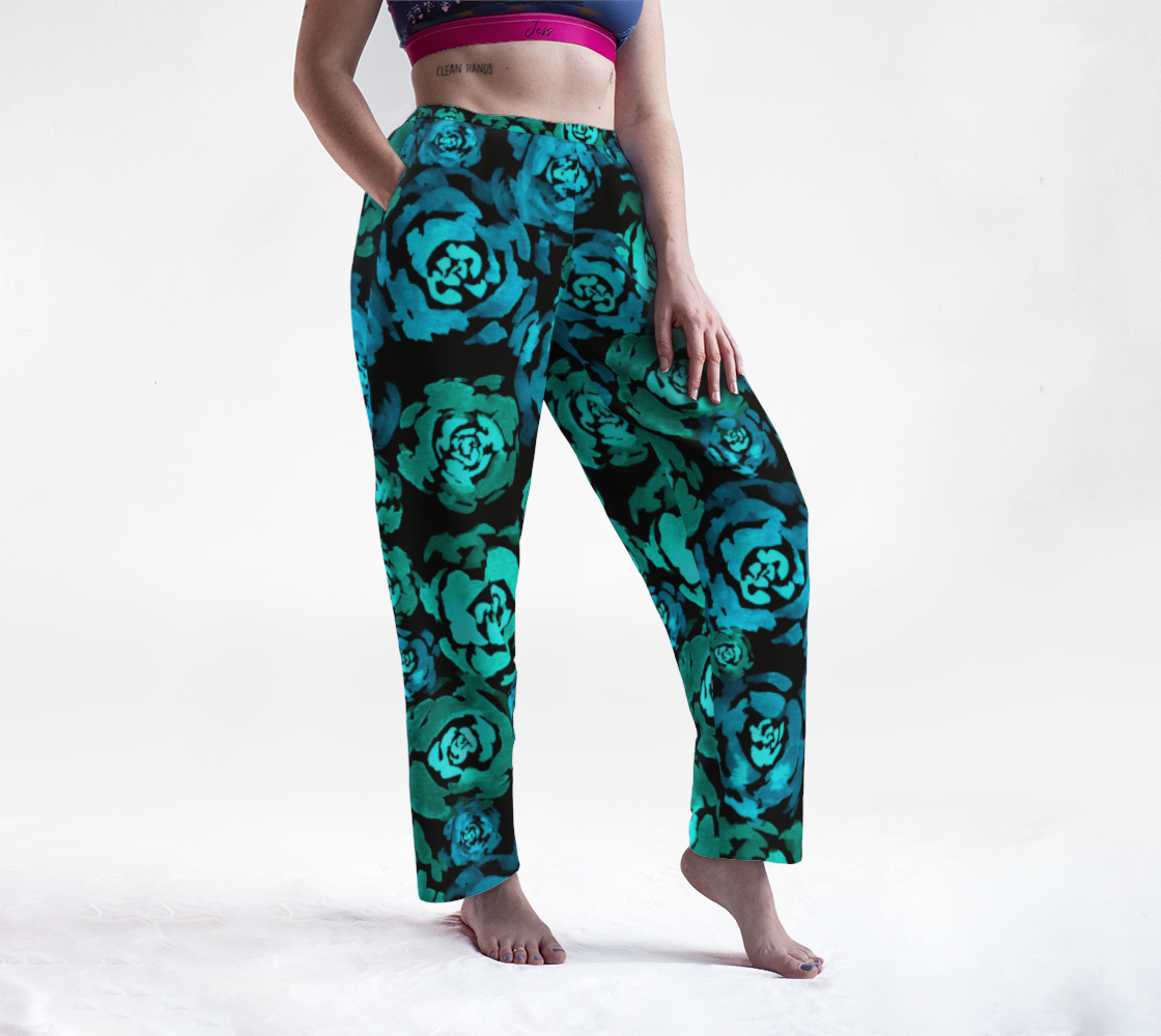 Turquoise Roses Pattern Lounge Pants preview