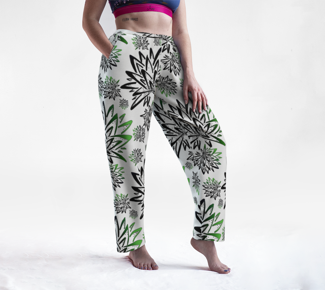 Abstract Green Thistles Pattern Lounge Pants preview