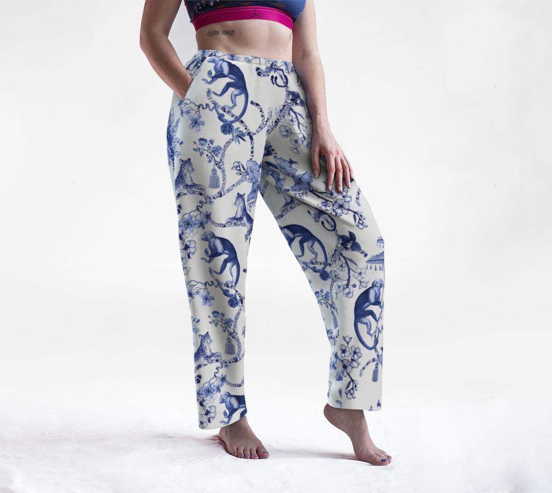 Aperçu de Lounge Pants - Chinoiserie Whimsy  - Blue & White