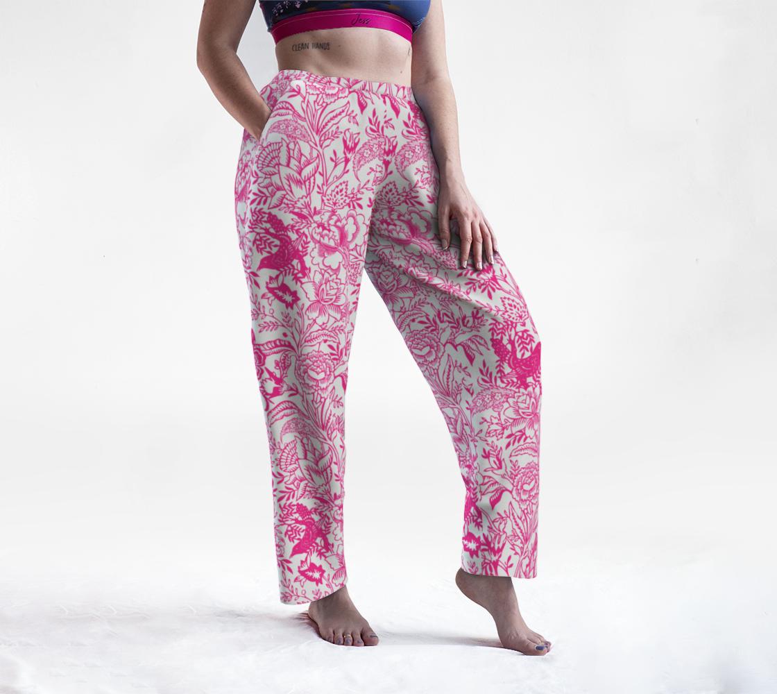Aperçu de Lounge Pant - Vintage Peony Floral - Pink and White