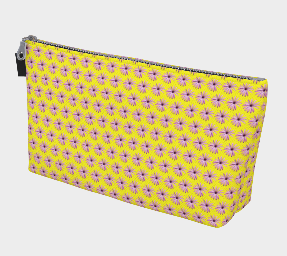 Pink Daisies on Yellow Makeup Bag preview