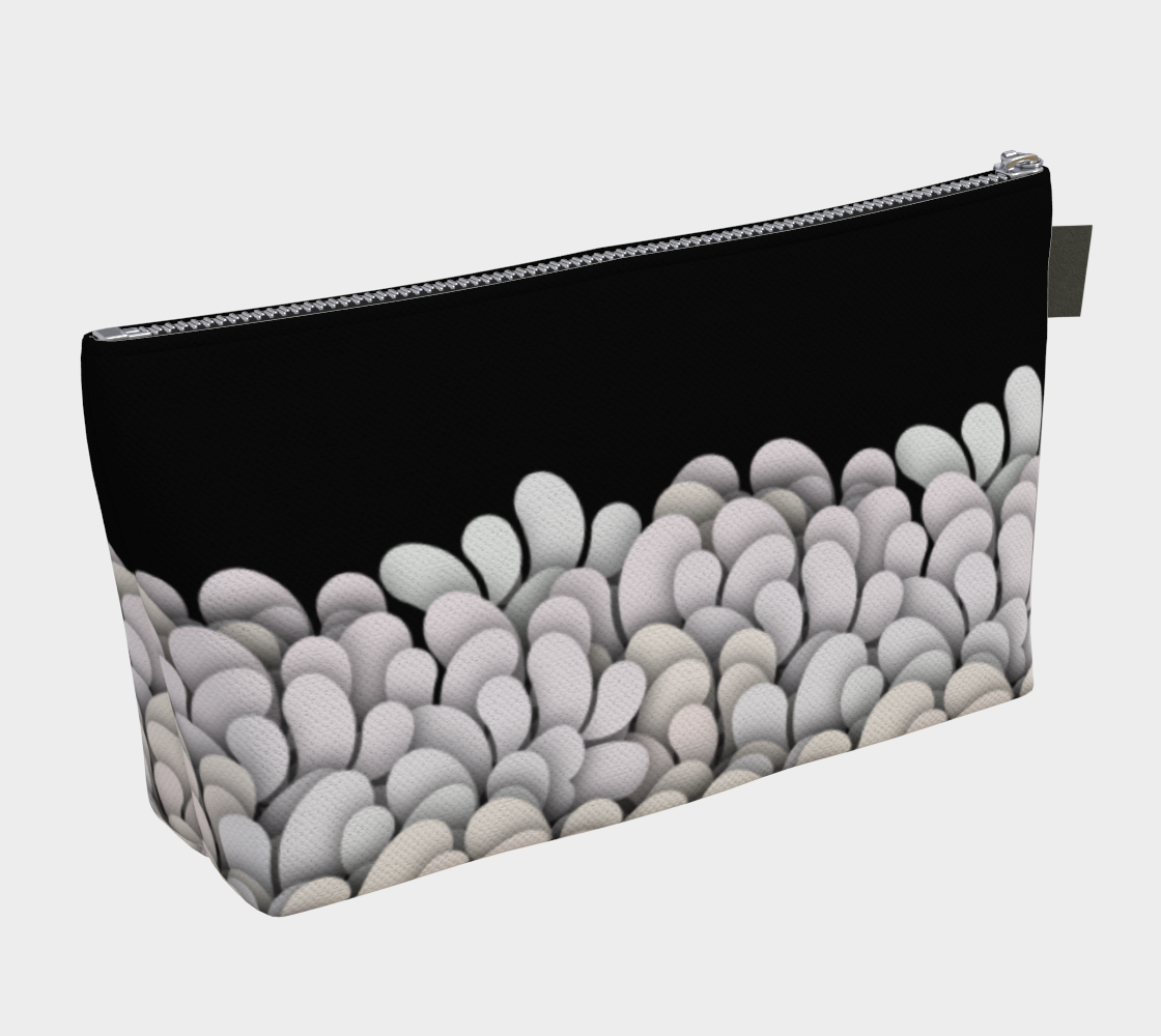 Black and White - Petals Makeup Gear Bag with Pocket preview #2