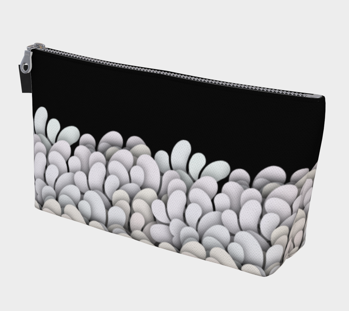 Black and White - Petals Makeup Gear Bag with Pocket preview #1
