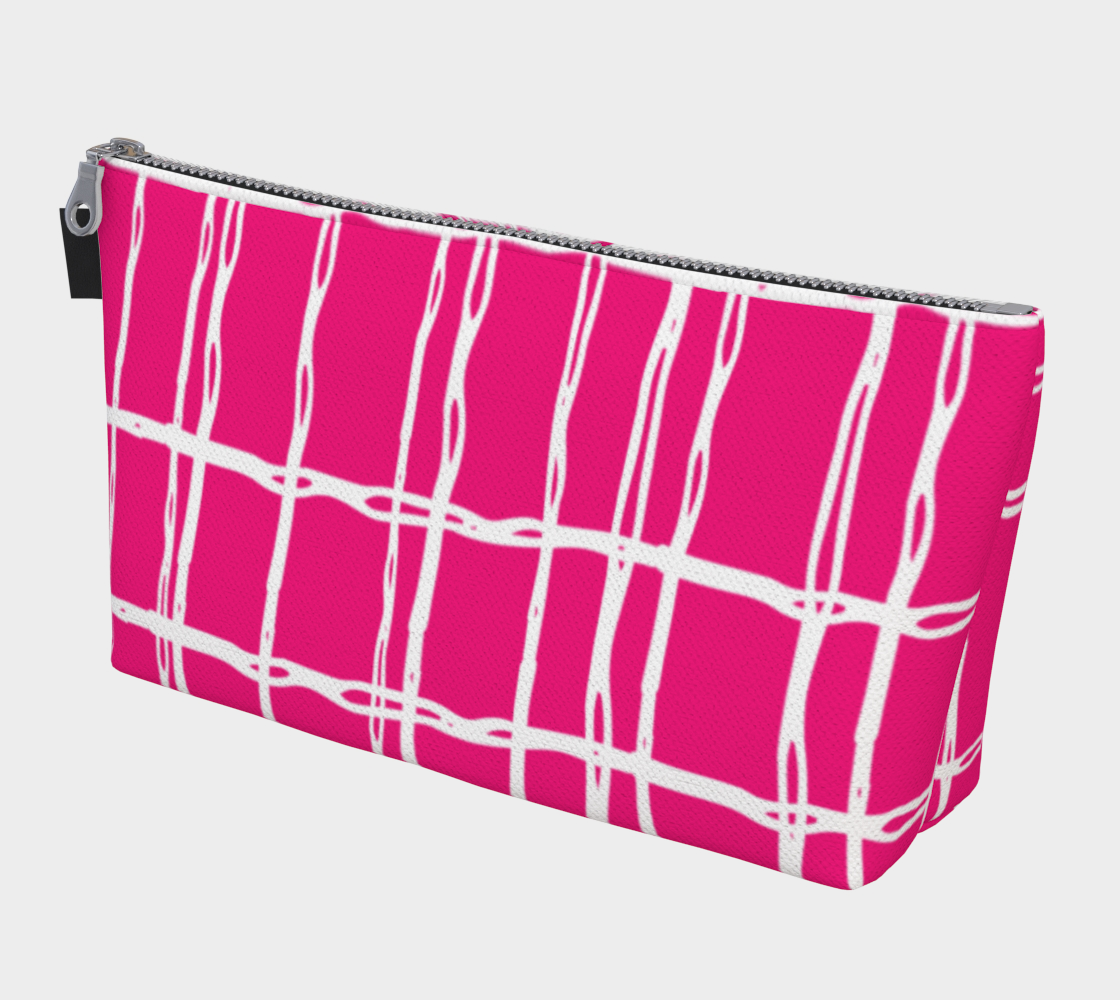 Pink and White Geometric Line Pattern Makeup Bag preview