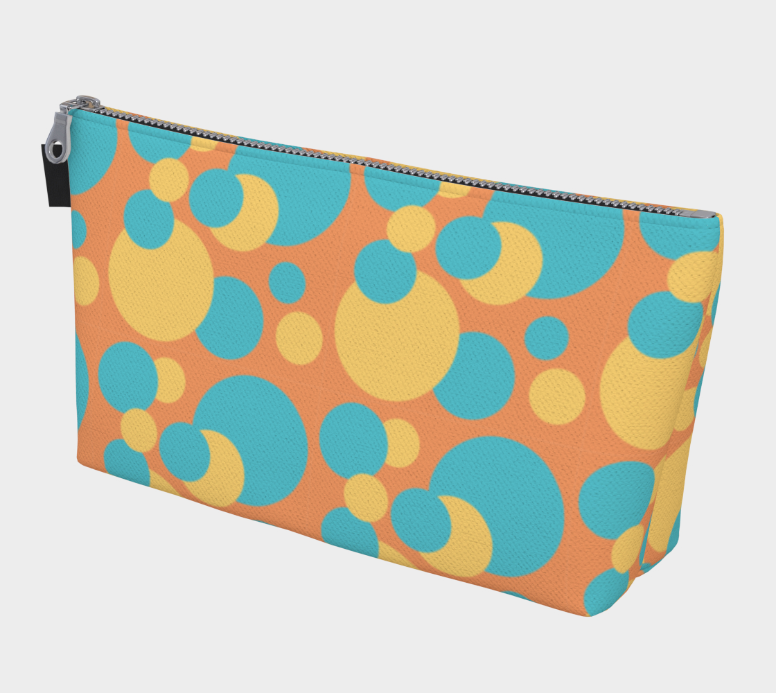 Retro Makeup Bag in Blue and Yellow Dot Pattern preview