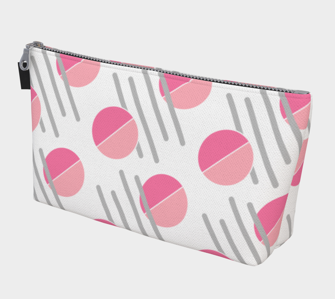 Modern Pink Circle Grey Line Abstract Makeup Bag preview