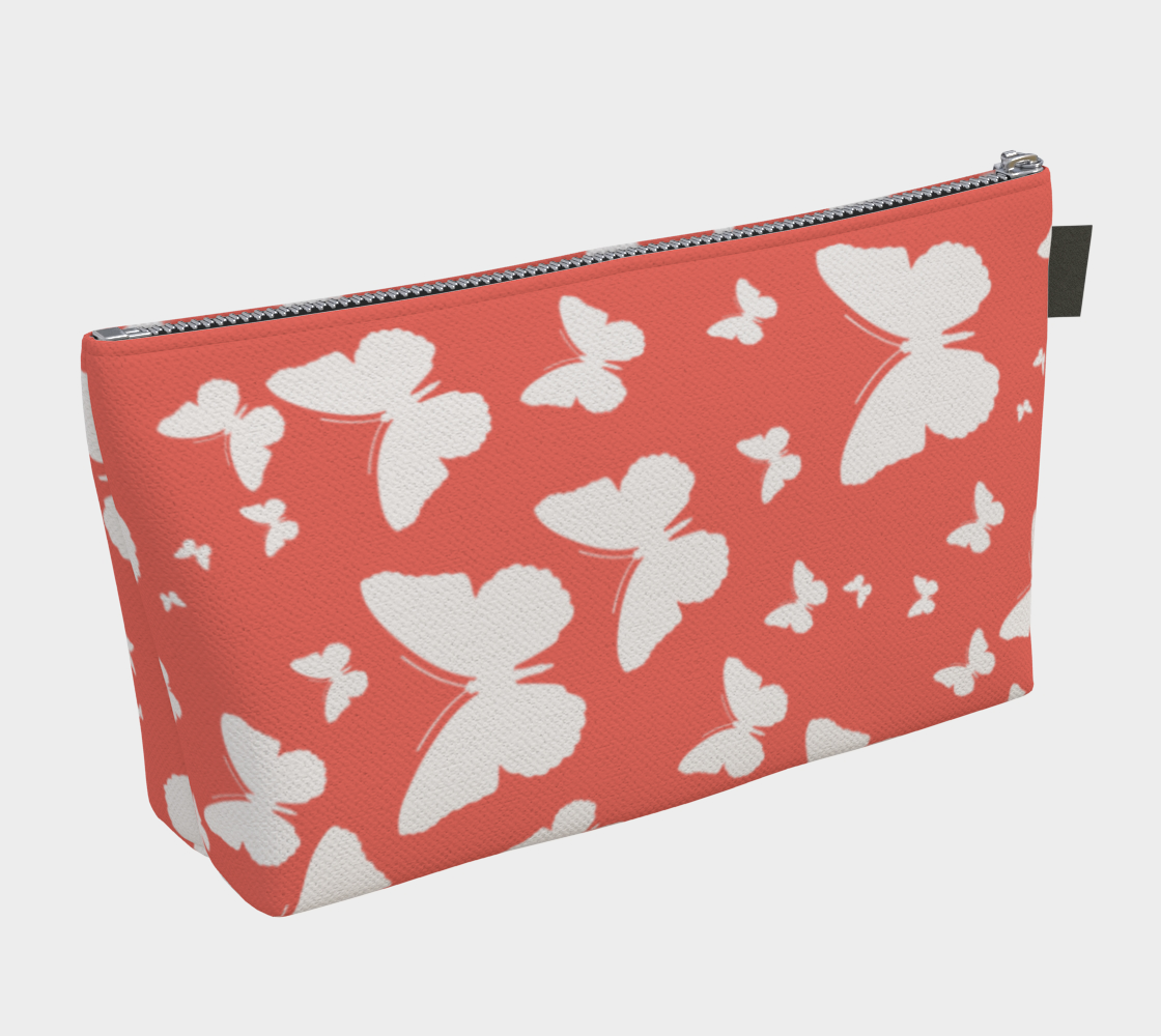 Butterflies in Coral and White Makeup Bag preview #2