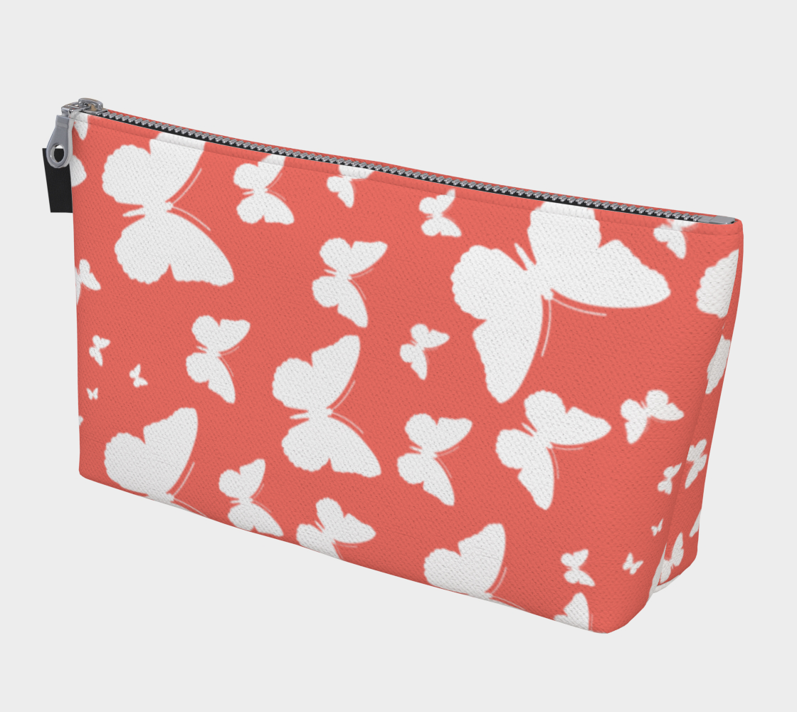 Butterflies in Coral and White Makeup Bag preview