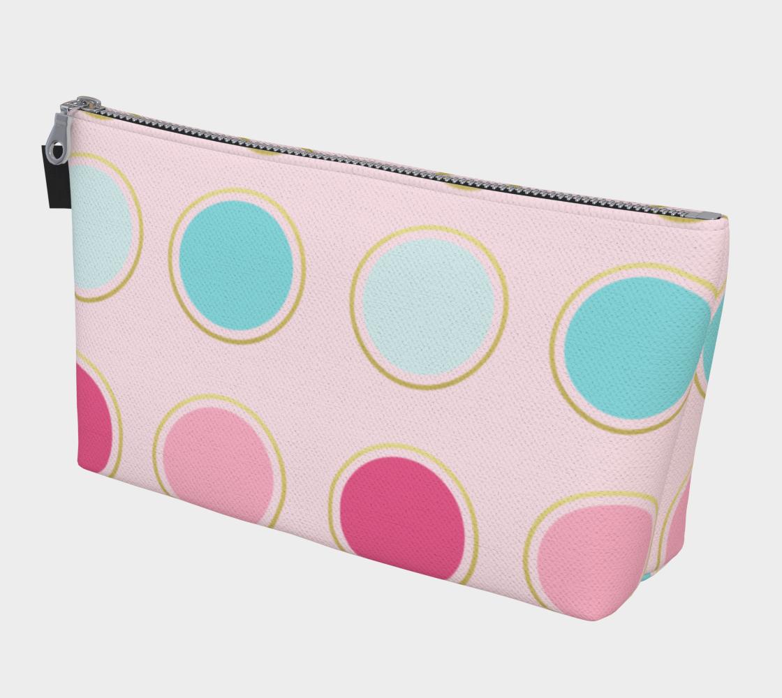 Pink and Teal Polka Dot Makeup Bag preview