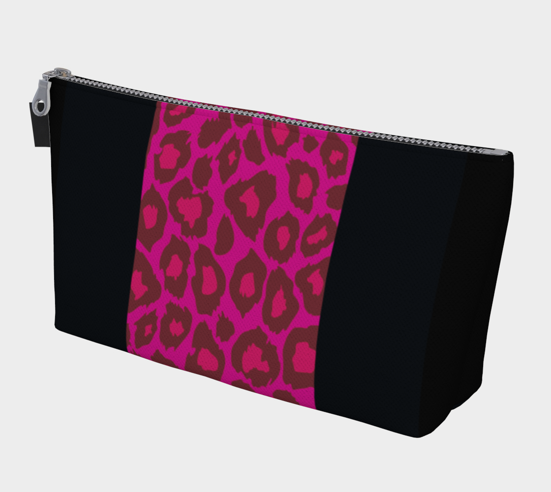 Leopard Makeup Bag Pink + Black preview
