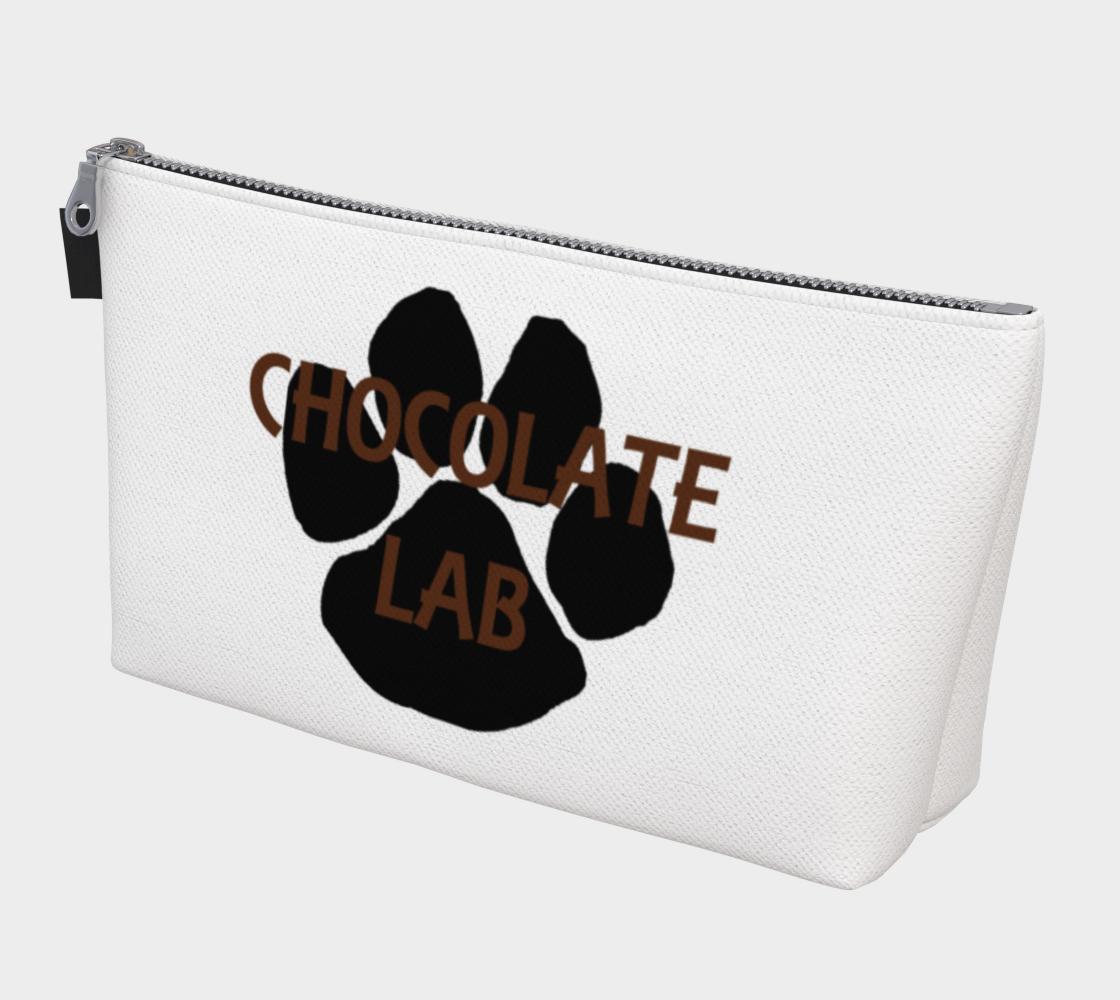 Labrador Retriever chocolate name paw makeup bag preview