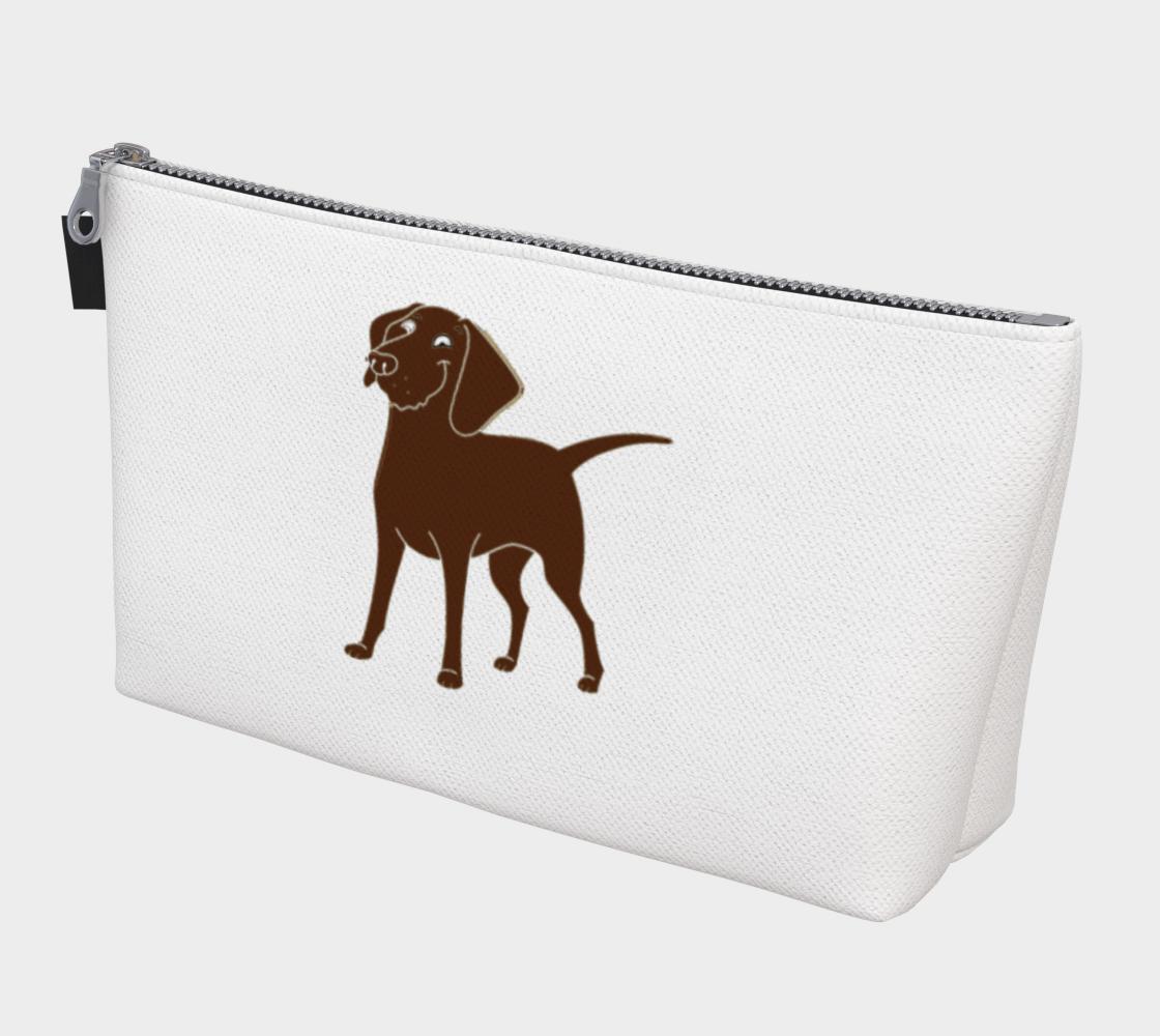 Labrador Retriever chocolate cartoon makeup bag preview