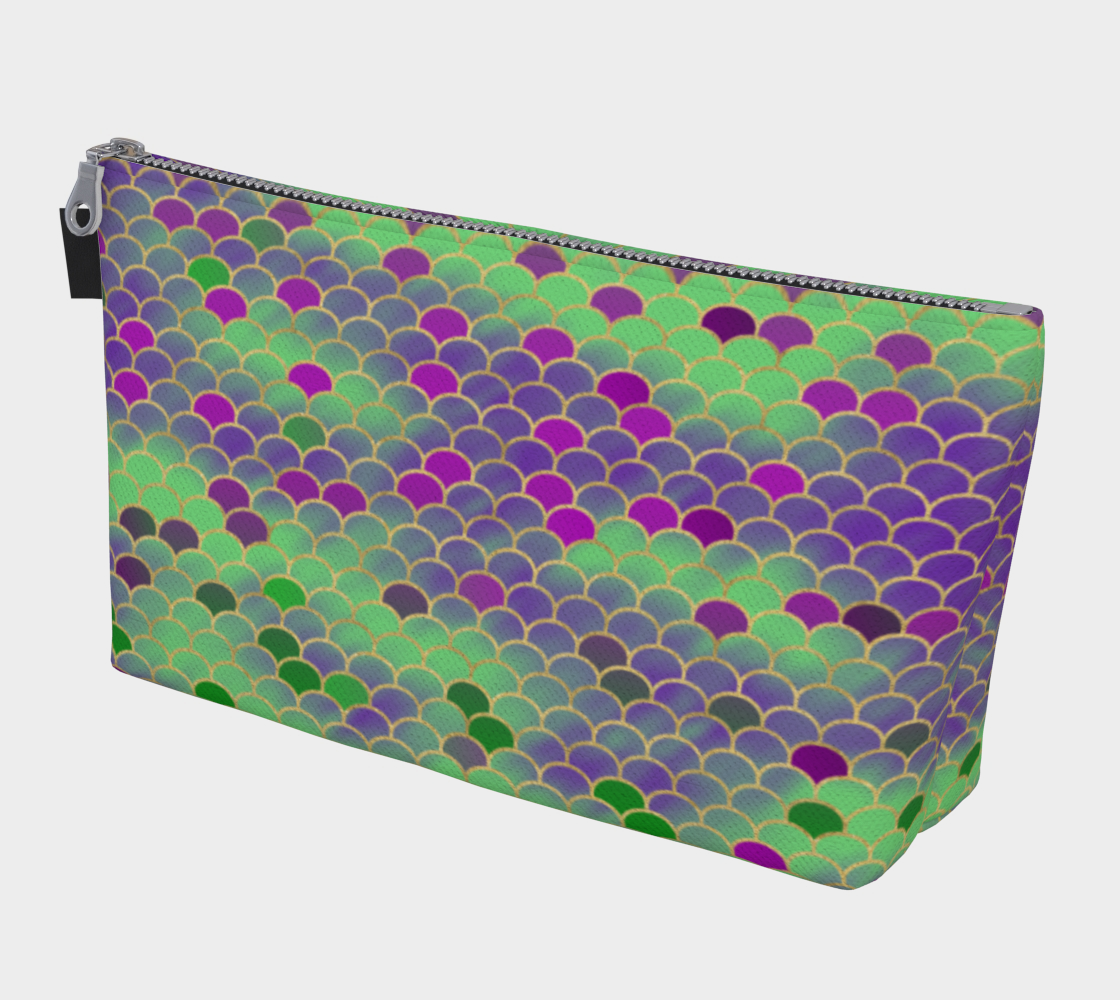 Green and Purple Mermaid Scales Makeup Bag preview