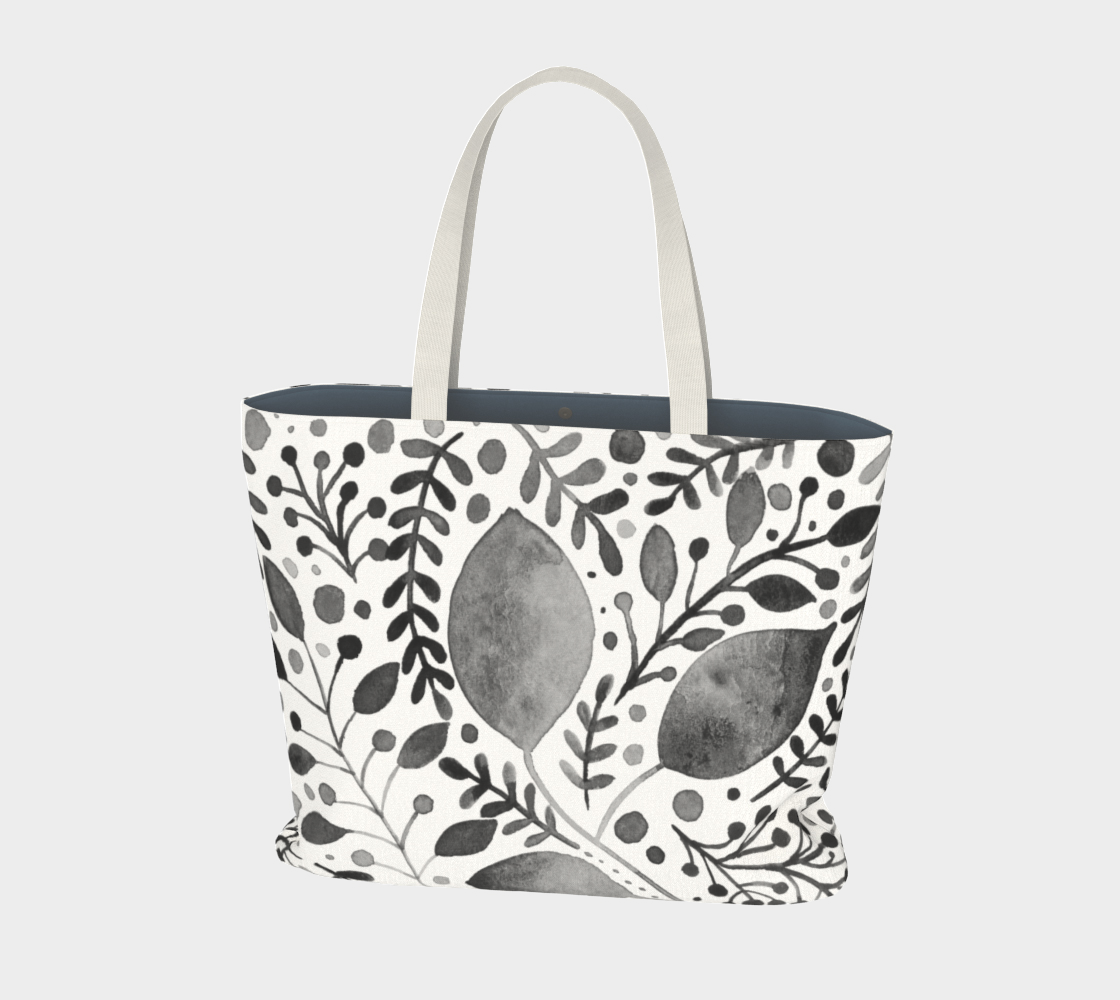 Branches and leaves - black and white preview