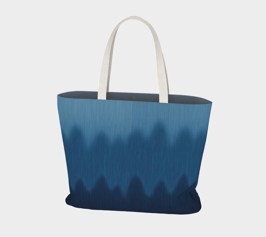 Ombre Blue Wave Faux Graphic Denim Print preview