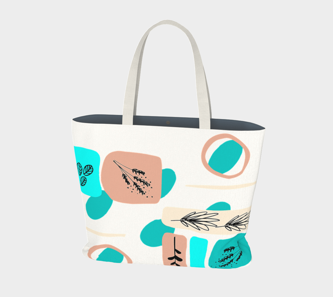 Abstract art shapes and Flowers, Psychedelic, Arte Abstracto, market tote preview