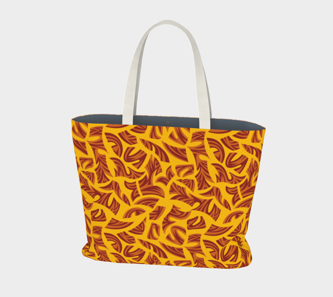 Ethnic Tribal Pattern Orange Brown Yellow Large Tote Bag preview