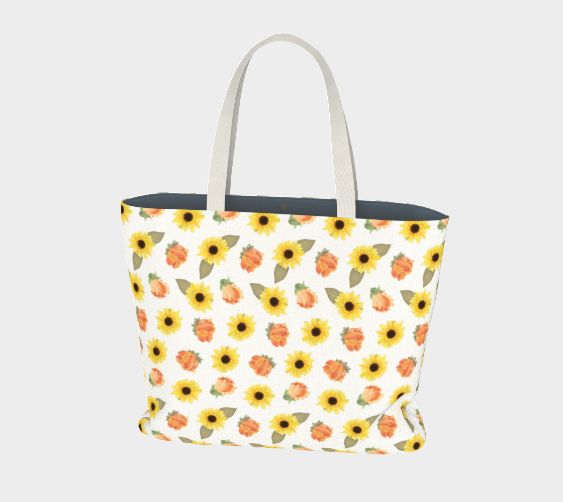 warm Florals Large Tote Bag preview