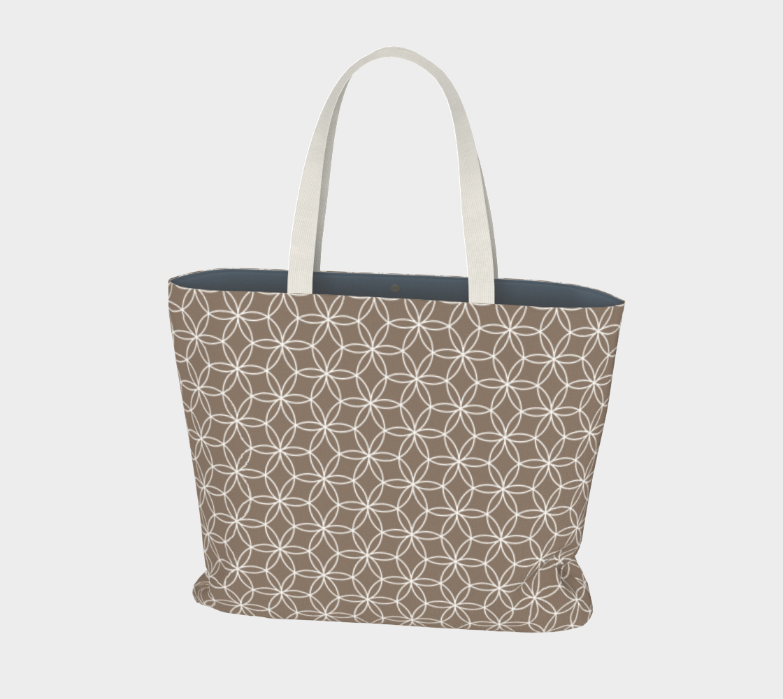 Flower of life pattern taupe and white preview