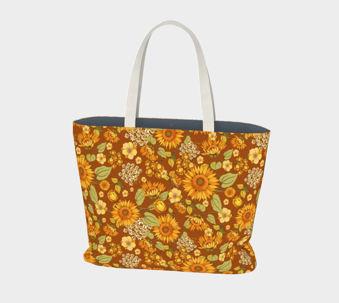 70s Sunflower vintage tote bag preview