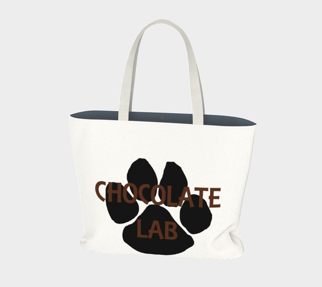 Labrador Retriever chocolate name paw large tote bag preview
