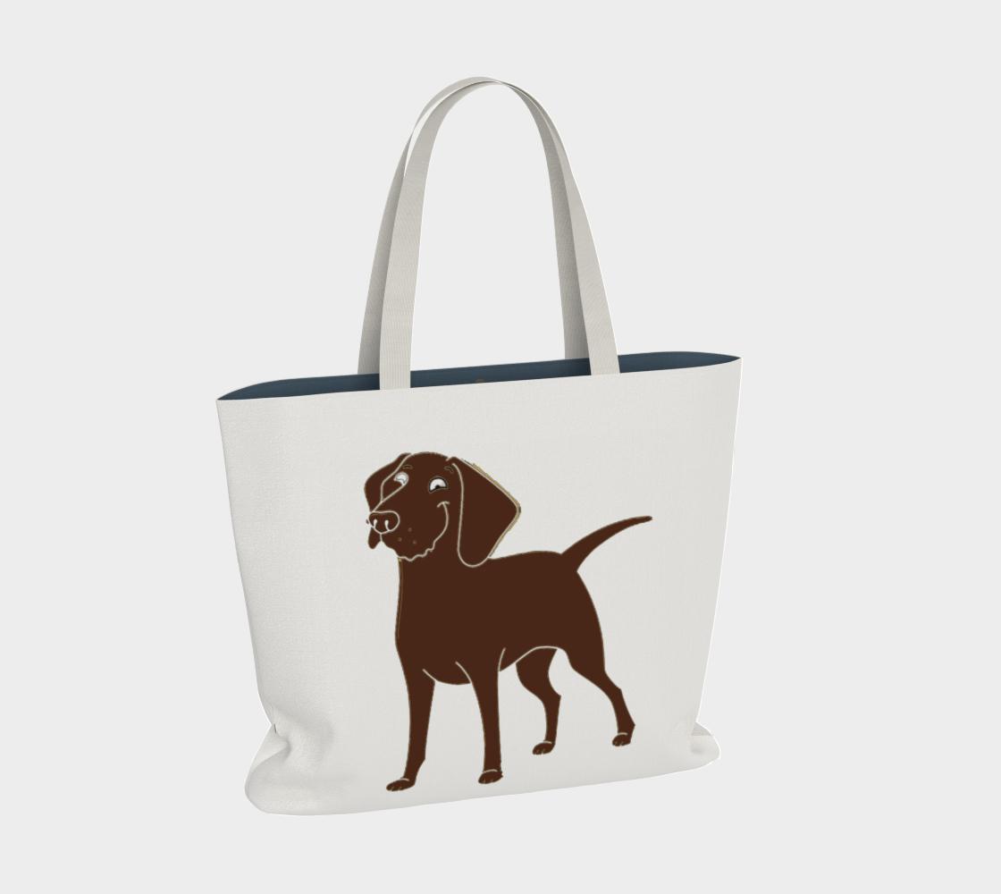 Labrador Retriever chocolate cartoon large tote bag preview #2