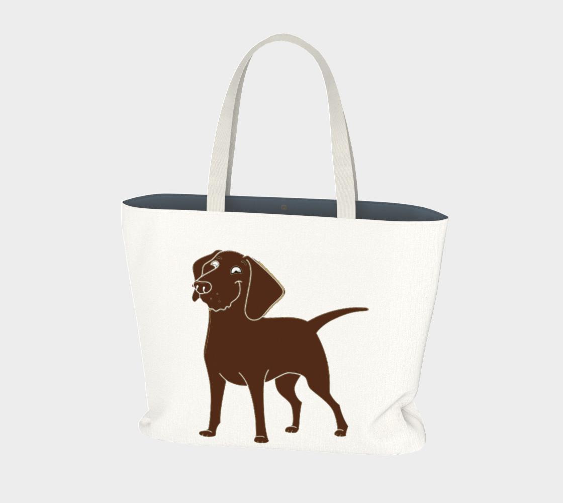 Labrador Retriever chocolate cartoon large tote bag preview