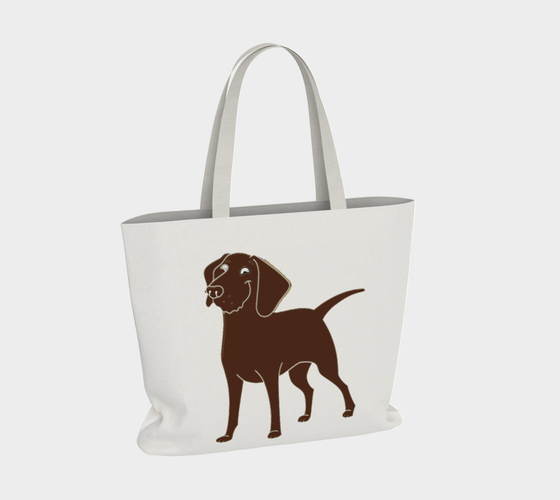 Labrador Retriever chocolate cartoon large tote bag preview #4