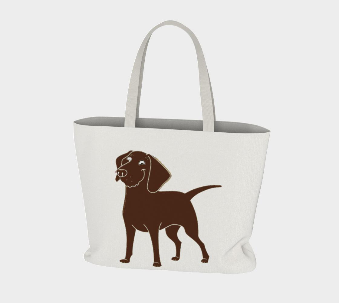 Labrador Retriever chocolate cartoon large tote bag preview #3
