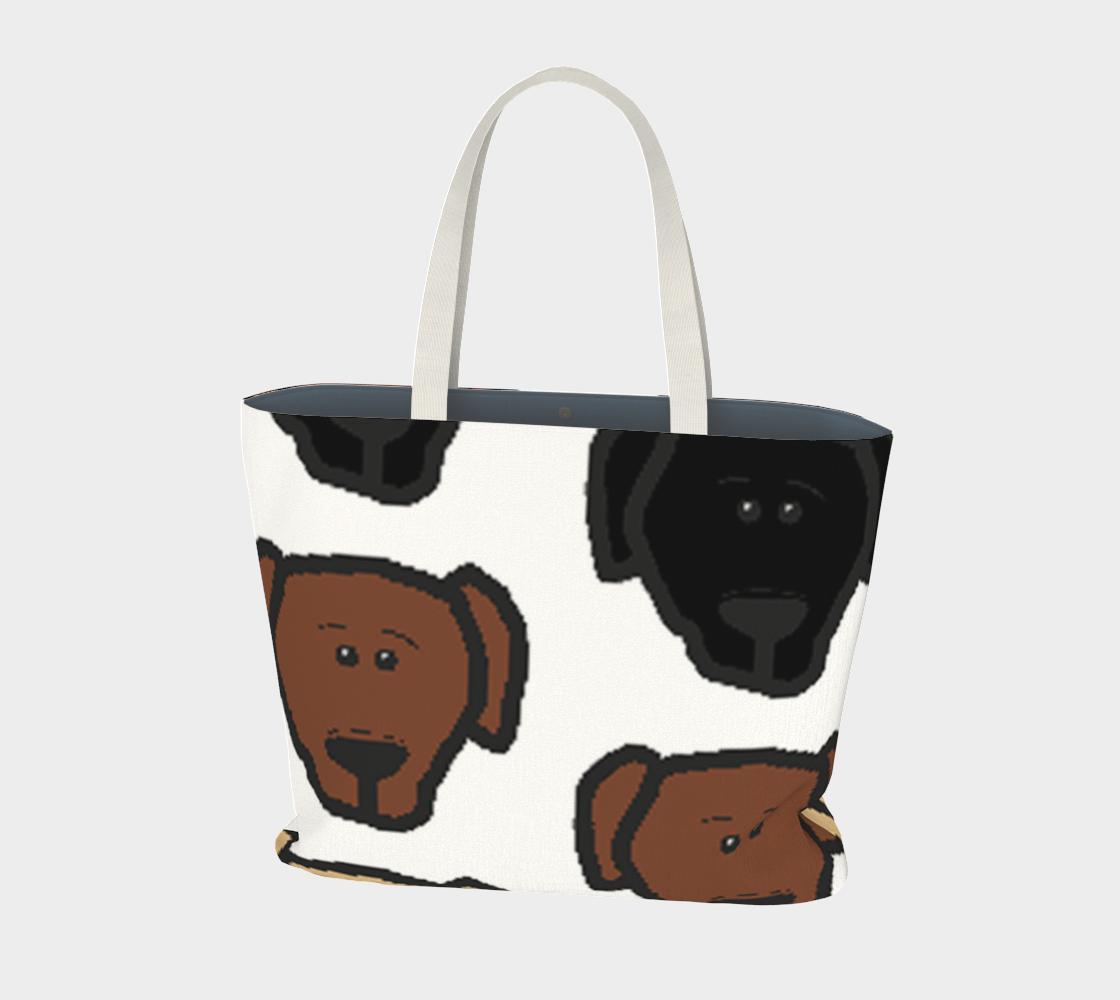Labrador Retriever all 3 colors cartoon heads large tote bag preview