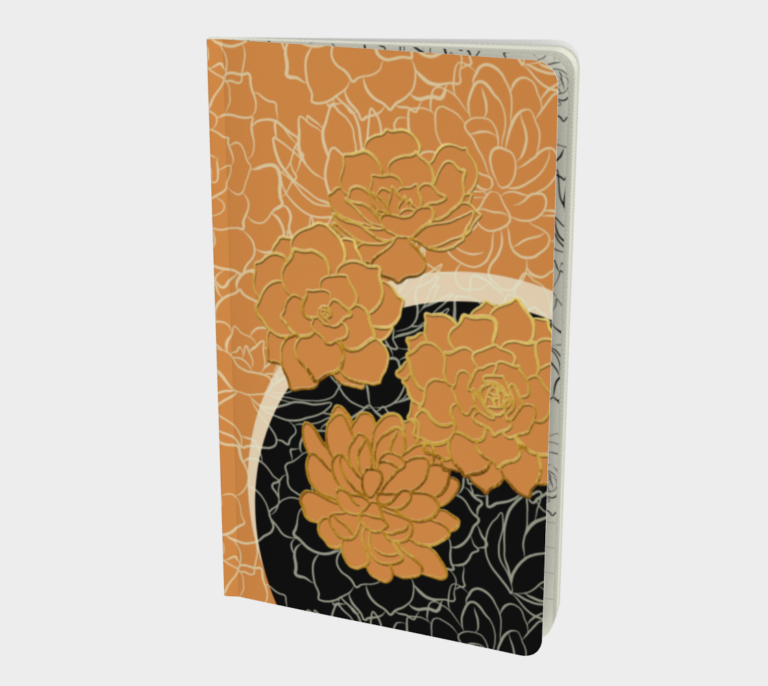 Golden Flowers on Classy Apricot – Notebook preview