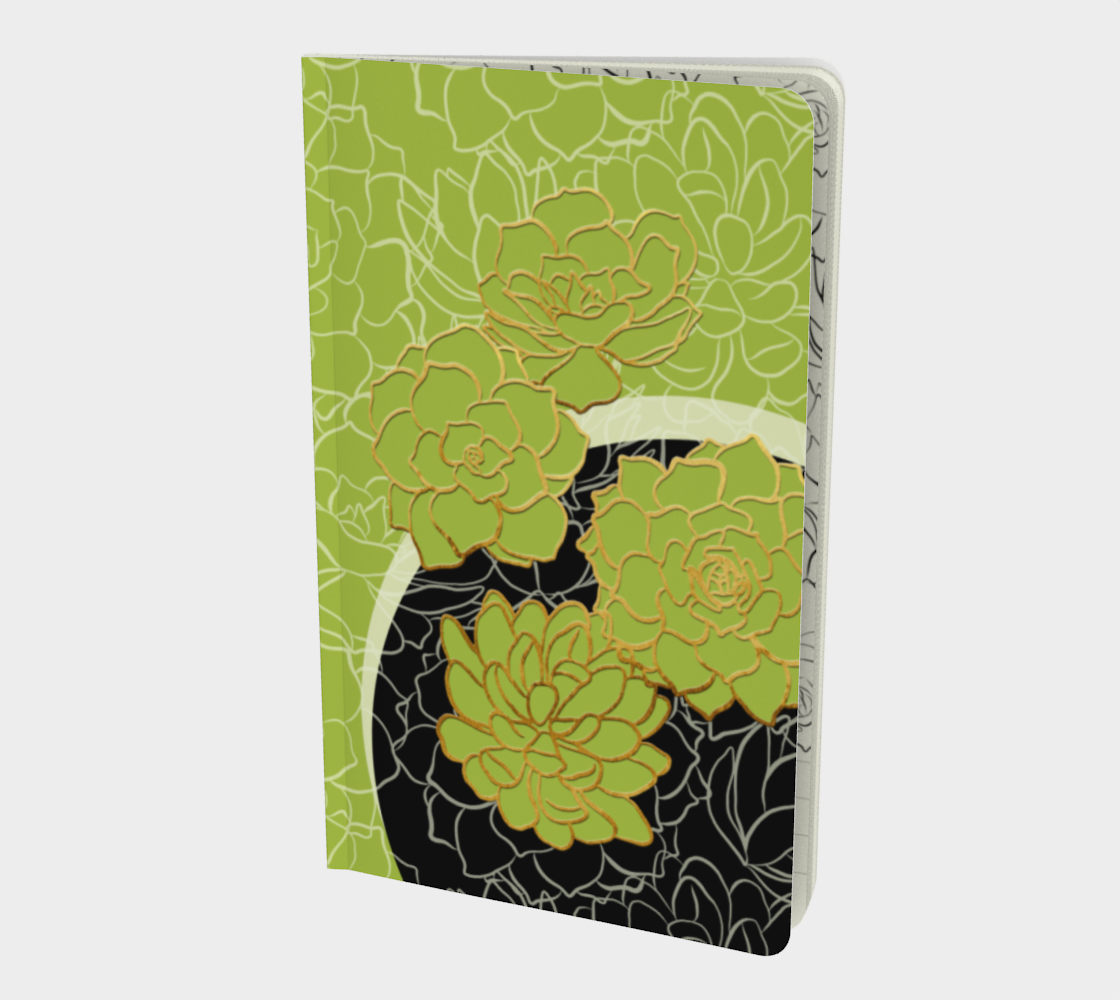Golden Flowers on Happy Green – Notebook preview