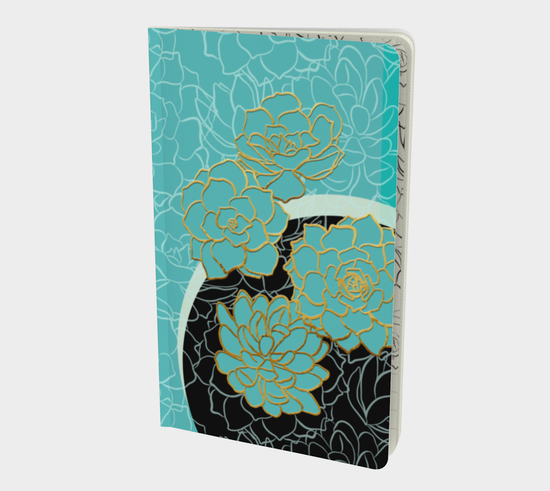 Golden Flowers on Luxury Blue – Notebook preview