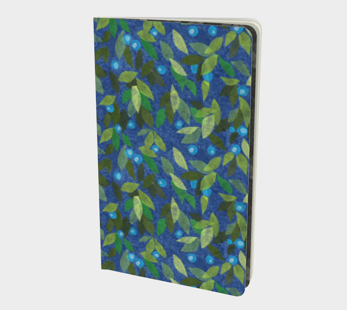 Aperçu de Blue Berries Green Leaves Simple Botanica Floral Pattern Notebook