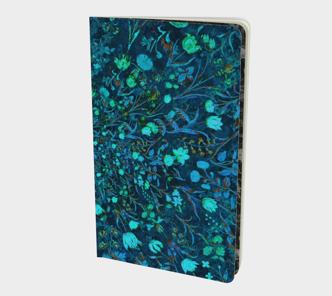 Aperçu de Blue Green Medieval Flowers Notebook