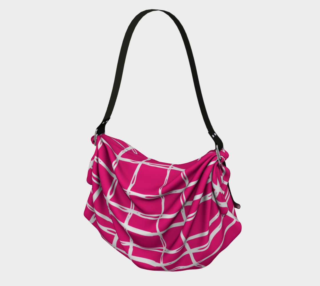 Pink and White Geometric Line Pattern Origami Tote preview