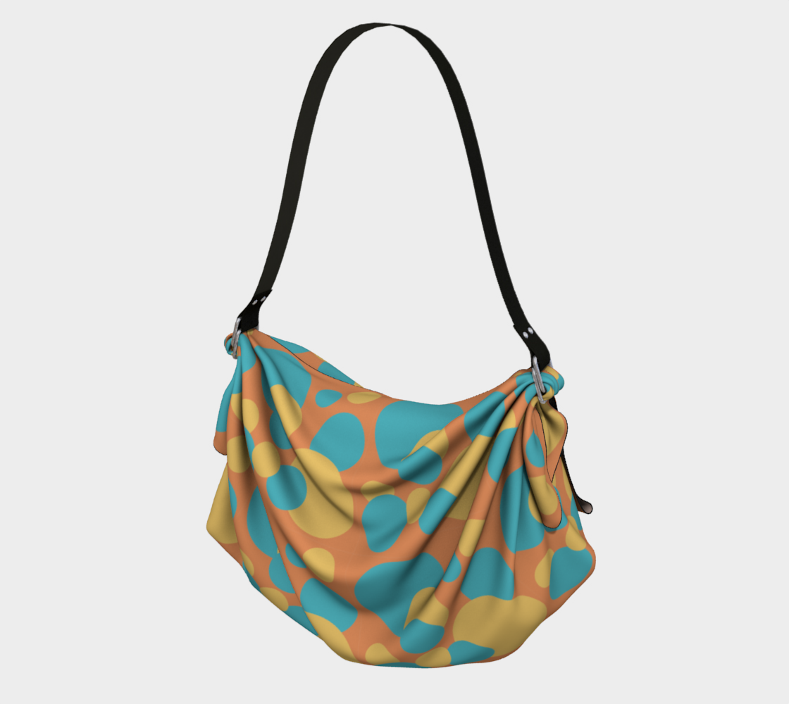 Retro Origami Tote in Blue and Yellow Dot Pattern preview