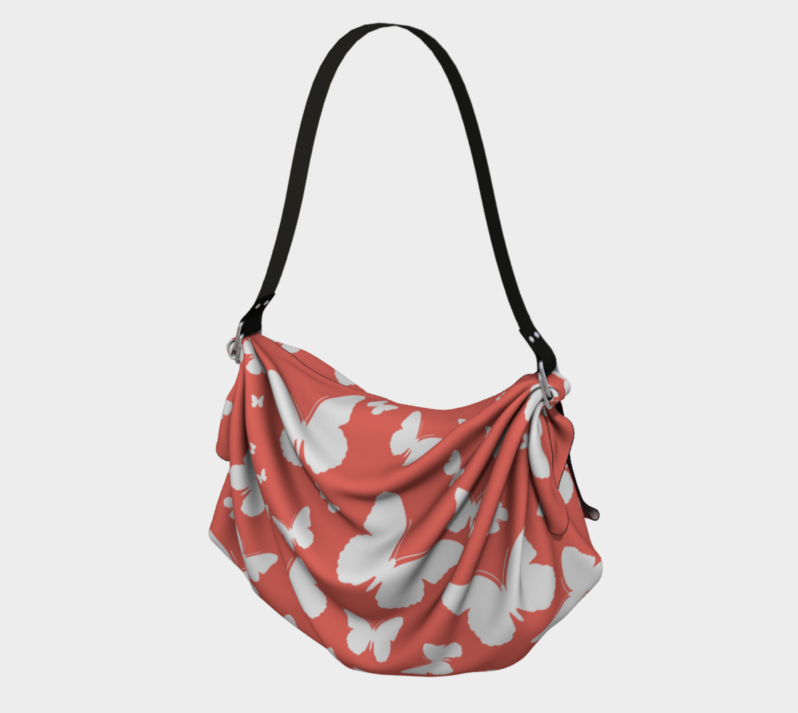 Butterflies in Coral and White Origami Tote preview