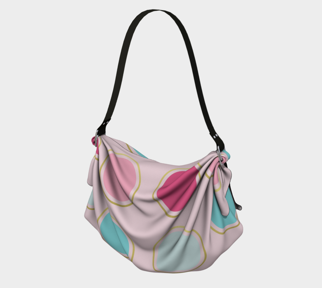 Pink and Teal Polka Dot Origami Tote preview