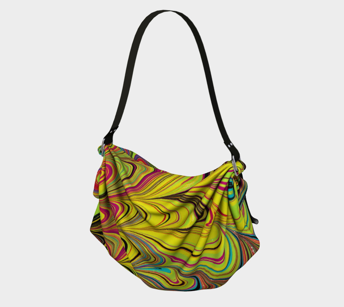 Sac fourre-tout origami multicolore Marbling art preview