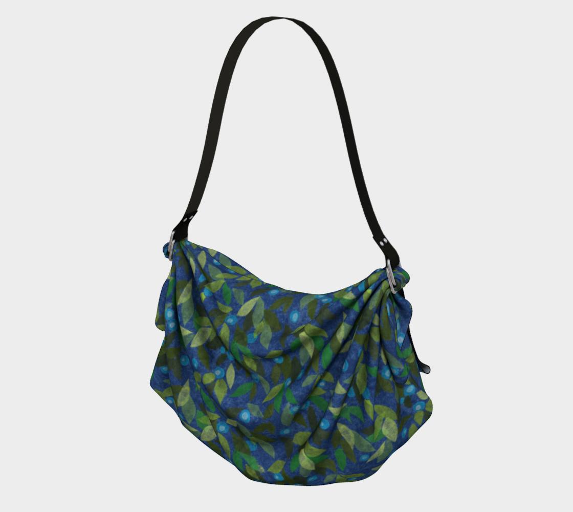Aperçu de Blue Berries Green Leaves Papercut Pattern Origami Tote