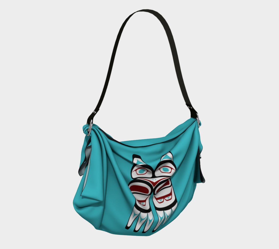 Formline Owl Pacific Northwest Native American Design Origami Tote Bag preview #2