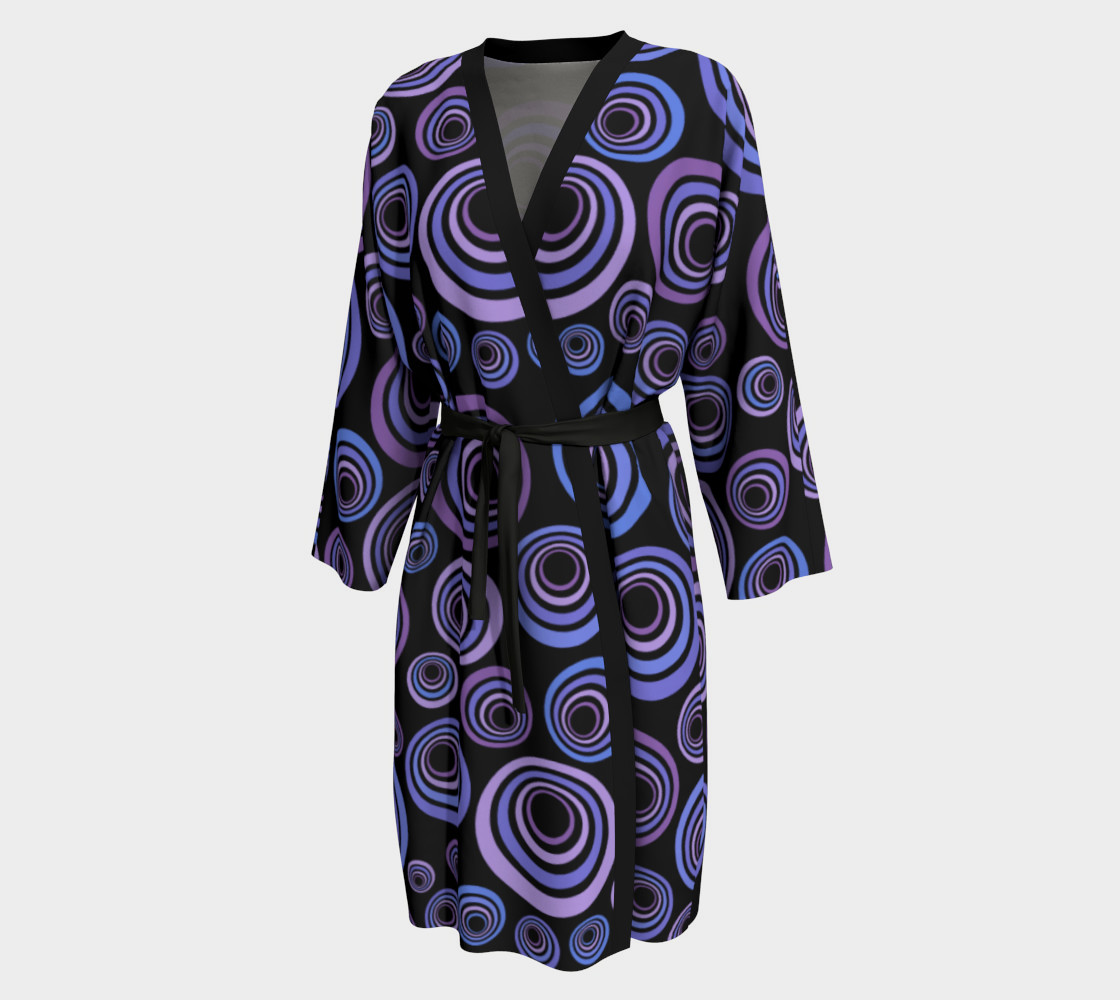 Groovy 60's Blue Violet Purple on Black preview #1